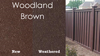 new and weathered woodland brown trex fence examples
